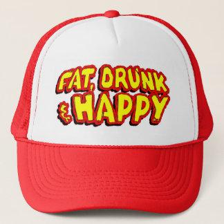Drucken & lycklig hatt för tjock, keps