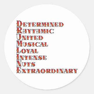 Drumline definition runt klistermärke