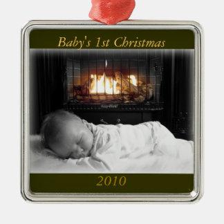 DSC00195 baby 1st jul, 2010 Silverfärgad Fyrkantigt Julgransprydnad