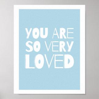 Du är älskad söt modern blått för väggdekor | poster