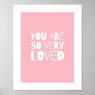Du är den älskade söta moderna rosan för väggdekor poster