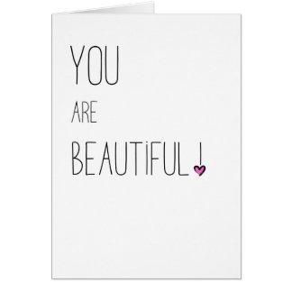 Du är härlig - LGBT - rosa hjärta Hälsningskort