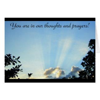Du är i våra tankar och böner! hälsningskort