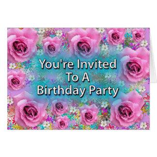 Du är inbjuden till en födelsedagsfest hälsningskort
