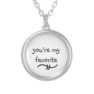 du är mitt favorit- meningsfulla ordhalsband halsband med rund hängsmycke