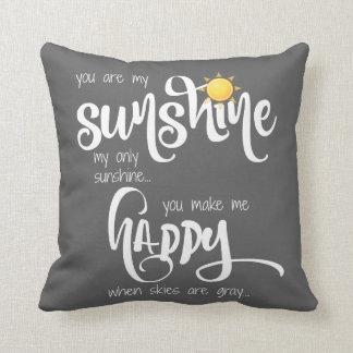 Du är mitt solsken; grått/vit, med randar kudde