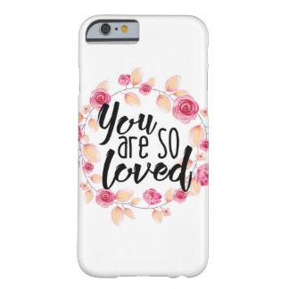 Du är så älskat; Rosa blommigt Barely There iPhone 6 Fodral