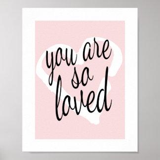 Du är så det älskade söta rosa poster