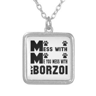 Du rörar med min Borzoi Halsband Med Fyrkantigt Hängsmycke