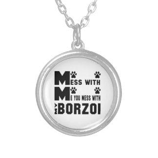 Du rörar med min Borzoi Halsband Med Rund Hängsmycke