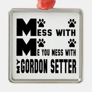 Du rörar med min Gordon Setter Julgransprydnad Metall