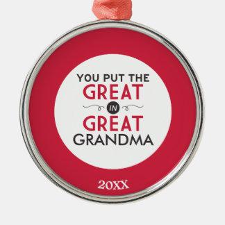 Du satte underbaren i underbar mormor julgransprydnad metall