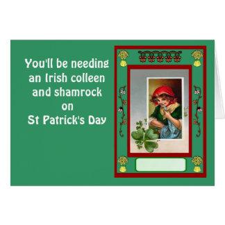 Du ska behöver en irländsk colleen och shamrock hälsningskort