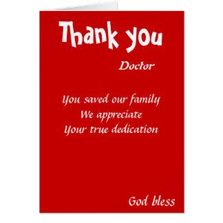 du sparade vår familjdoktor hälsningskort