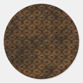 Dubbat läder är stilfullt runt klistermärke