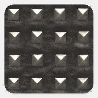 Dubbat svart läder fyrkantigt klistermärke