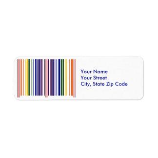 Dubbel etikett för regnbågeBarcodereturadress Returadress Etikett