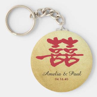 Dubbel lycka kinesiska gifta sig Keychain Rund Nyckelring