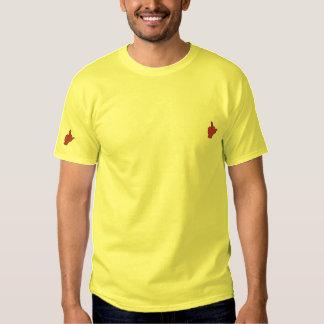 Dubbel Midfinger broderad T-tröja Broderad T-shirt
