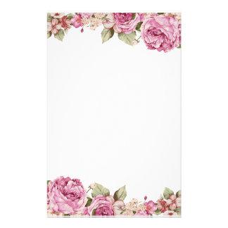 Dubbelsidig gräns med rosa rosmålning brevpapper