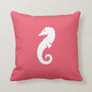 Dubbelsidig nautisk rosa havshäst kudde