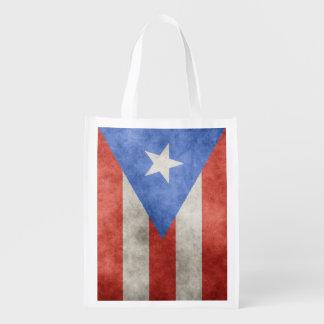Dubbelsidig Puerto Rico Grungeflagga Återanvändbar Påse