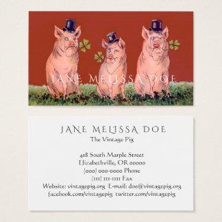 Dubbelsidig visitkort för roliga grisar