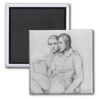 Dubbelt porträtt av Hippolyte och Paul Flandrin Magnet