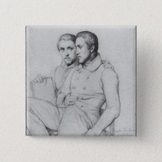 Dubbelt porträtt av Hippolyte och Paul Flandrin Standard Kanpp Fyrkantig 5.1 Cm