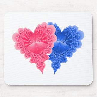 Dubbla hjärtor i blått och rosor musmatta