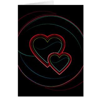 Dubbla hjärtor i svart hälsningskort