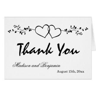 Dubbla kort för tack för hjärtapersonligbröllop