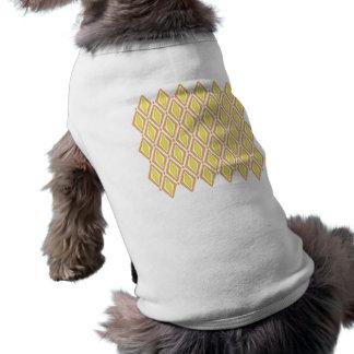 Dubbla Retro diamanter (gult) Hund T-shirt