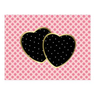 Dubbla svart och guld- hjärtor vykort