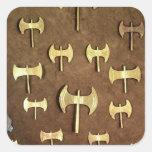 Dubbla yxor för miniatyr fyrkantigt klistermärke