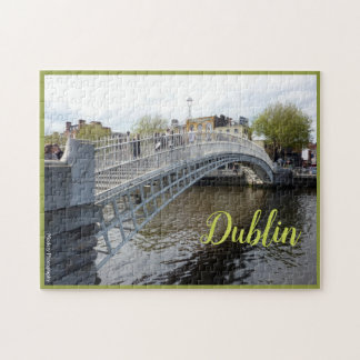 Dublin (halvpennymyntet överbryggar), med text pussel