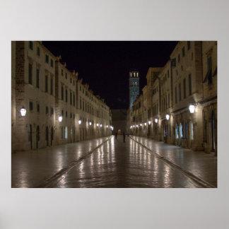 Dubrovnik Kroatien på natten Poster