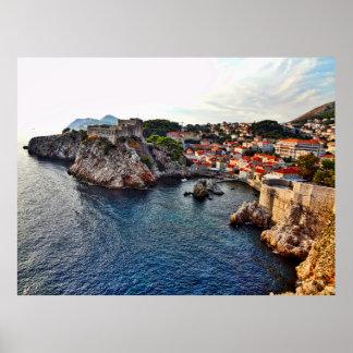 Dubrovnik Kroatienslottaffisch Poster