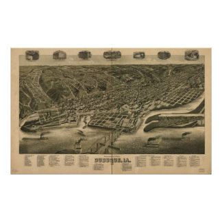 Dubuque Iowa 1889 antika panorama- karta Poster