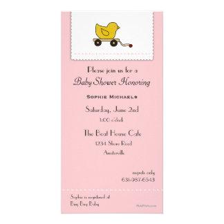 Ducky baby showerinbjudan för rosor lite fotokort