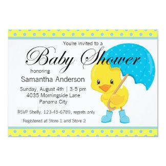 Ducky med paraplybaby shower 12,7 x 17,8 cm inbjudningskort