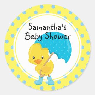 Ducky med paraplybaby shower runt klistermärke