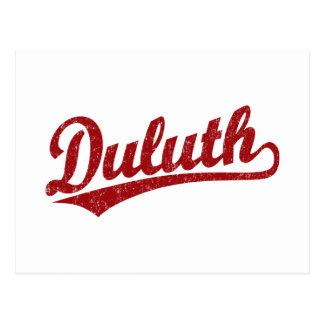 Duluth skrivar logotypen i rött vykort