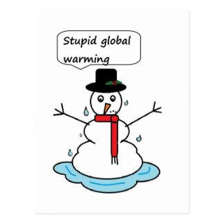 dum snögubbe för global värme vykort