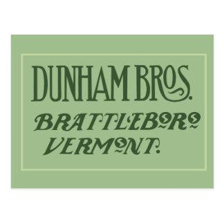 Dunham Bros. Brattleboro VT-vykort Vykort