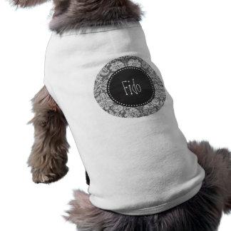 Dunkel grå damast; Retro svart tavla Hund Tshirt