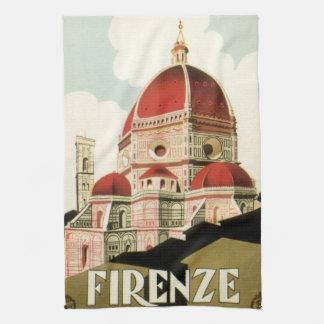 Duomo för kyrka för vintage resorFlorence Firenze Kökshandduk