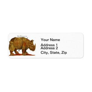 Durers noshörning returadress etikett