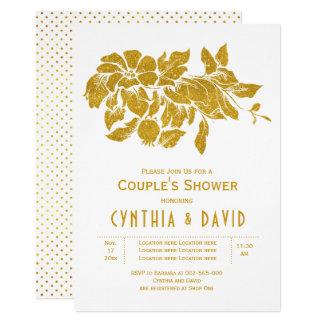 Dusch för par för bröllop för guld- glitterblommor 12,7 x 17,8 cm inbjudningskort