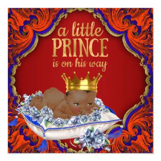 Dusch för Prince pojke för afrikansk amerikan Fyrkantigt 13,3 Cm Inbjudningskort